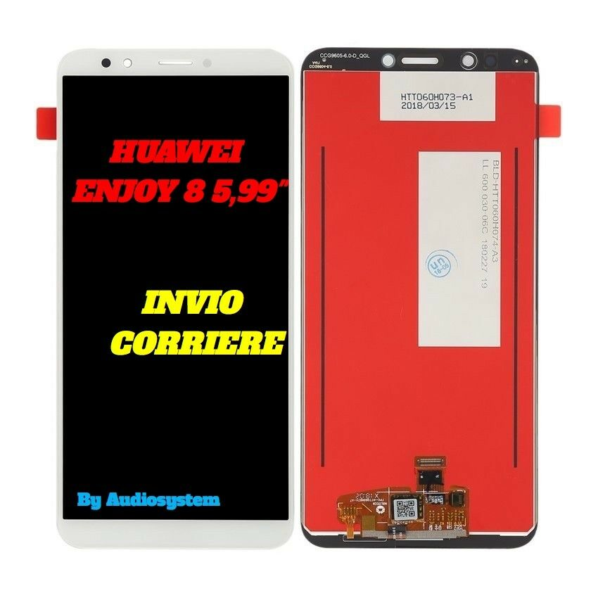DISPLAY+TOUCH SCREEN PER HUAWEI ENJOY 8 BIANCO VETRO LDN-AL00 AL10 TL00 TL20 LCD