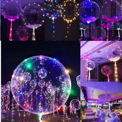 "20"" LED Light Up Bobo Balloon Transparent Wedding Birthday Xmas Party Decor Lamp"