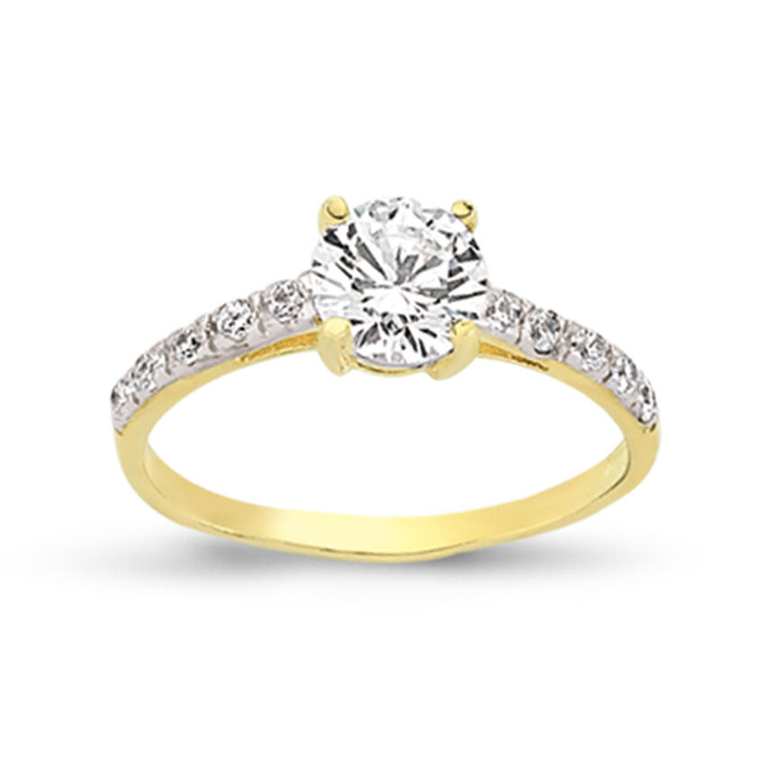 1a40fd5270a23d 9CT GOLD LADIES SINGLE CZ SOLITAIRE ENGAGEMENT RING CUBIC ZIRCONIA WEDDING  BAND