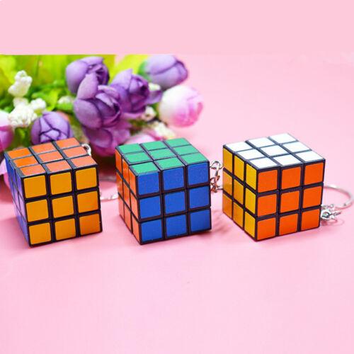 Plastic Cute Mini Magic Cube Keyring Kids Educational Toys Fun Key Ring Keychain