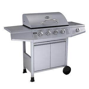 taino gasgrill bbq grillwagen 4 edelstahl brenner gas grill seitenkocher t v. Black Bedroom Furniture Sets. Home Design Ideas