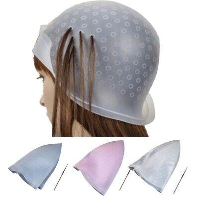 Professional Salon Reusable Hair Colouring Highlighting Dye Cap Hat Hook Needle