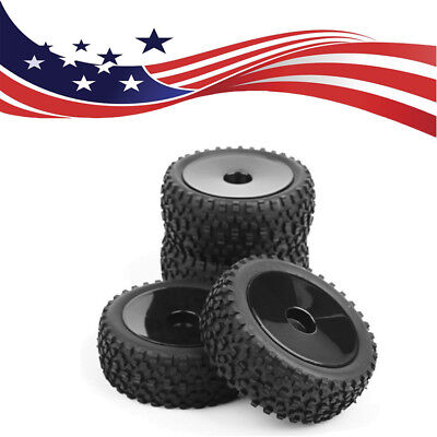 4x 1:10 Rubber Front&Rear RC Buggy Tire &12mm Hex Wheel Rim Set For Off-Road Car