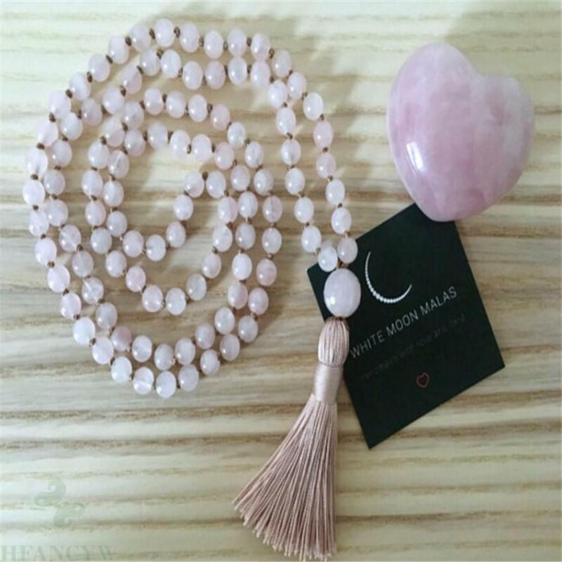 6MM pink crystal Gemstone 108 Beads Tassel Mala necklace Veins Classical Chain