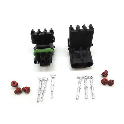 Weather Pack1set Of 3pin Waterproof Electrical Wire Auto Connector Plug 16-14 Ga