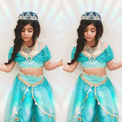 Aladdin Jasmine Kids Girls Cosplay Costume Halloween Dress Up Outfits Clothes