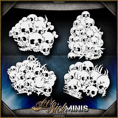 Mini Skull Background Set 5 -  Airbrush Stencil Template -