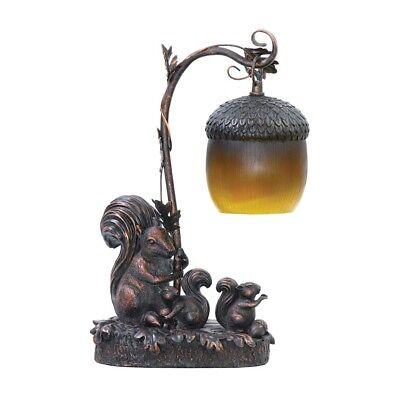 Squirrel Acorn Mini Accent Table Lamp Bronze Finish