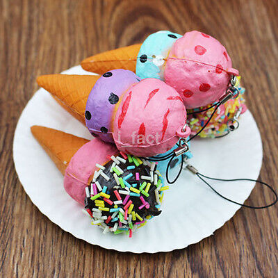 New Jumbo Squishy 10CM Ice Cream Scented Slow Rising Kids Toy Soft Phone Strap