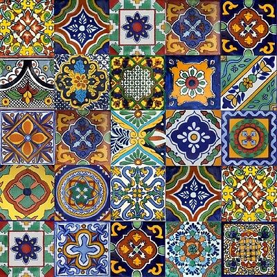 COLOR Y TRADICI/ÓN Mexican Talavera Tiles Handmade 6x6 Stairs Backsplash 4 pcs C228