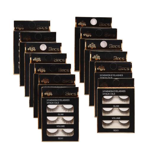 False Eyelashes 3D Natural Fake Eye Lashes Makeup Thick Cross Curl 1Pack/3 Pairs