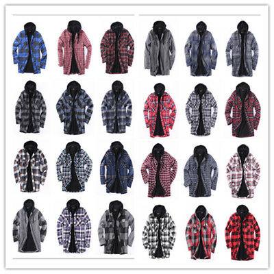 Flannel Jacket Hooded Zip Plaid Fleece Jacket Sherpa Lined 26 Color Available