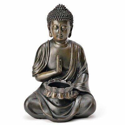 (1181) Deko BUDDHA Teelichthalter Figur Statue Skulptur FENG SHUI 24 cm Garten