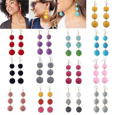 Boho Bohemian Tassel Three Large Ball Long Linear Dangle Drop Earrings Jewelry Long Linear Earrings