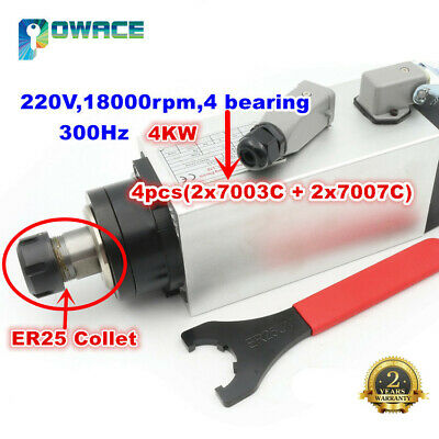 4kw Air Cooled Square Spindle Er25 220v 18000rpm 300hz Engraving 18a For Cnc