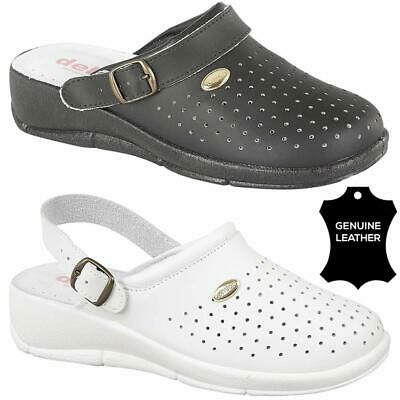 LADIES NURSE MULE LEATHER SANDALS WORK CASUAL HOSPITAL KITCHEN CLOGS SHOES