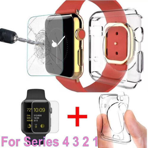 Clear Tempered Glass Screen Film Soft TPU Case Cover For Apple Watch Series 4 3