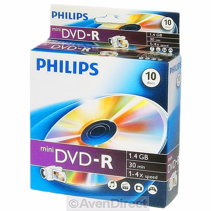 30-pk Philips Mini 4x DVD-R 1.46GB Blank Recordable DVD Disc