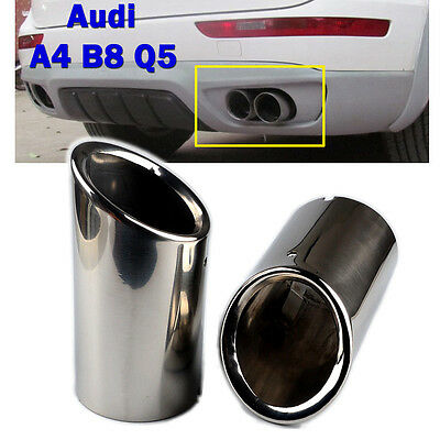 Audi 2 ×75mm Chrome Stainless Steel Exhaust Tail Muffler Tip Pipe for A4 B8 Q5