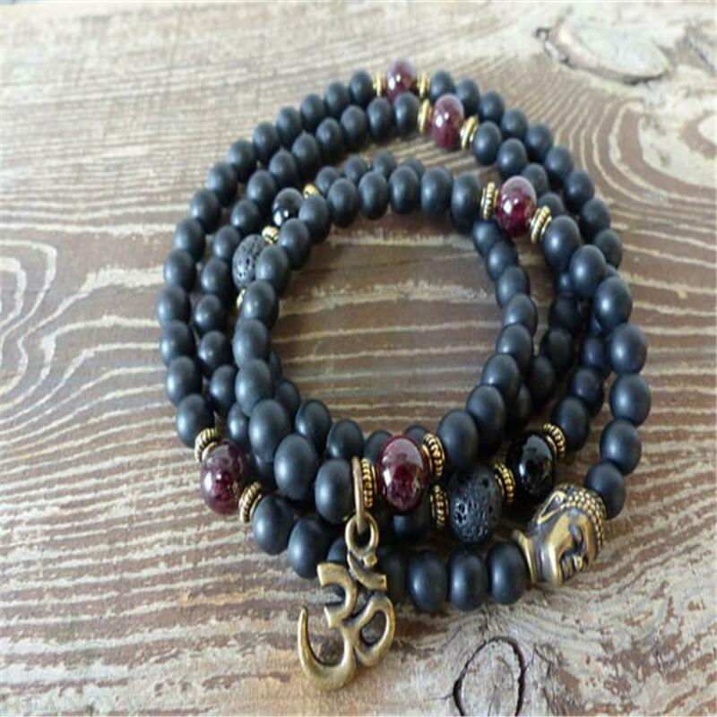 6mm Obsidian Garnet Gemstone 108 Buddha Beads Mala Bracelet yoga Gemstone Bless