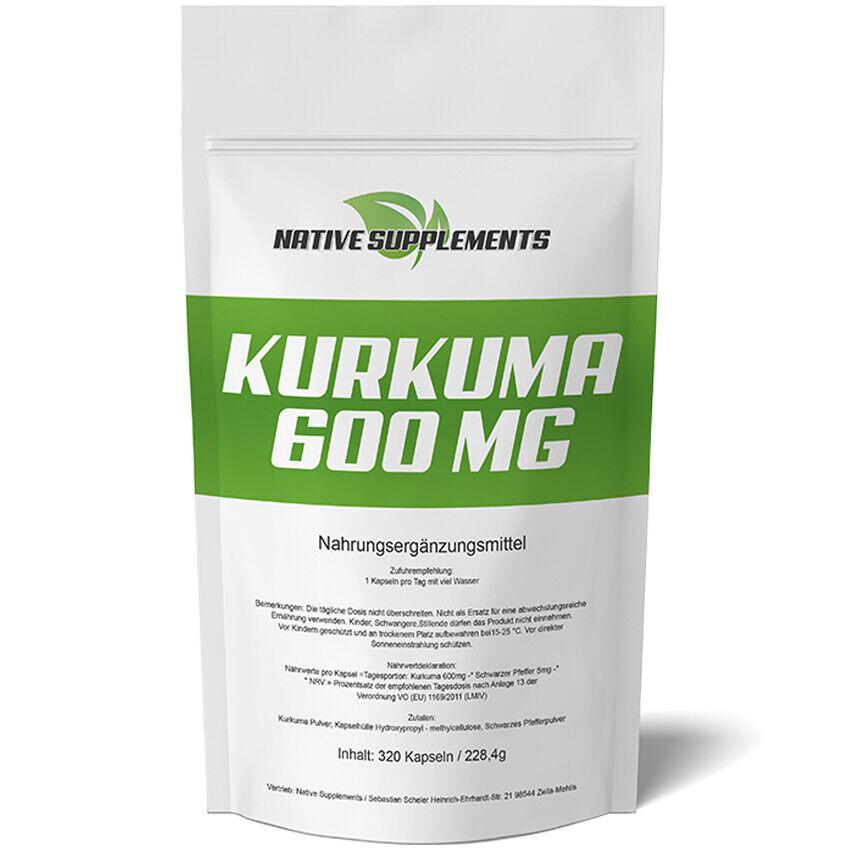 KURKUMA EXTRAKT 320 Kapseln - 600mg Curcuma + Piperin + Curcumin Hochdosiert