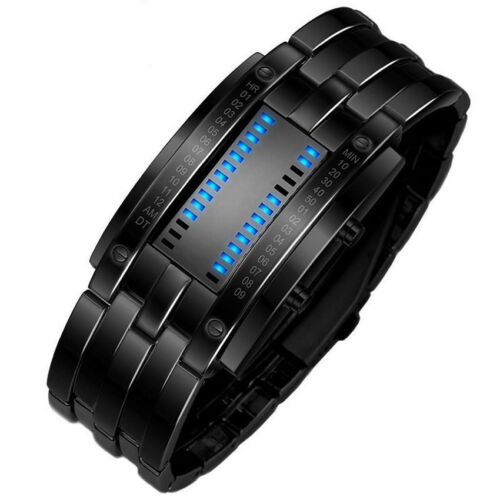 Luxury Wristwatch Men Women Steel Binary Luminous LED Electronic Sport Watches
