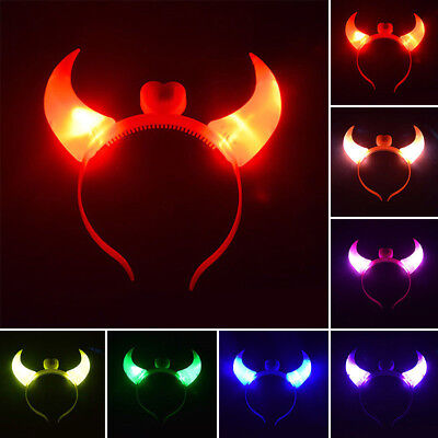 Light Up Devil Horn Headband Costume Dress Up Flashing Accessory Halloween Party