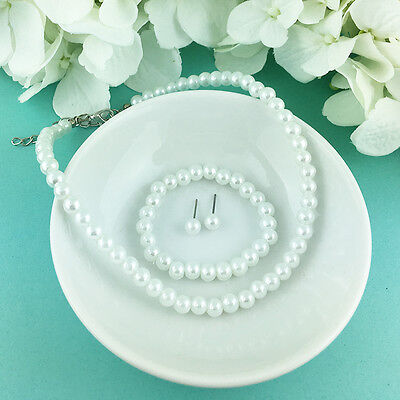 Flower Girl Wedding White Pearl 3 pc Necklace Earrings Bracelet Kids Jewelry Set