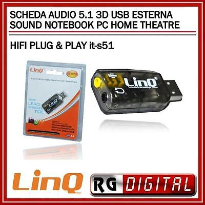 HOME THEATRE HIFI PLUG & PLAY  SCHEDA AUDIO 5.1 3D USB ESTERNA SOUND NOTEBOOK PC