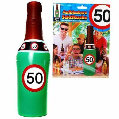 """Aufblasbare Sektflasche """"50""""Geburtstag Dekoration Party Deko Scherzartikel 70 cm"""