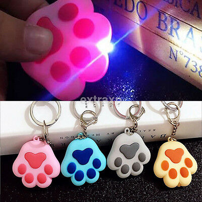 New Kawaii Cat Kitty Paw LED Keychain with Light Meow Sound Keyring Keyfob Gift - Kitty Paw