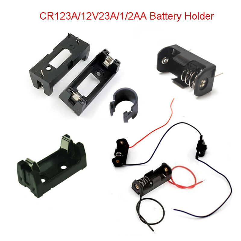 CR123A/12V23A/1/2AA Lithium Battery Holder Connector Box Switch with Wire Case