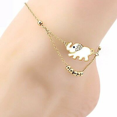 New-Women-Jewelry-Foot-Elephant -Chain-Anklet-Bracelet-Barefoot-Charm Rose Gold.
