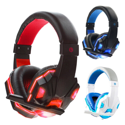 Cool LED Light Gaming Headset Headphone Hi-Fi Stereo Earphone 3.5mm w Mic for PC