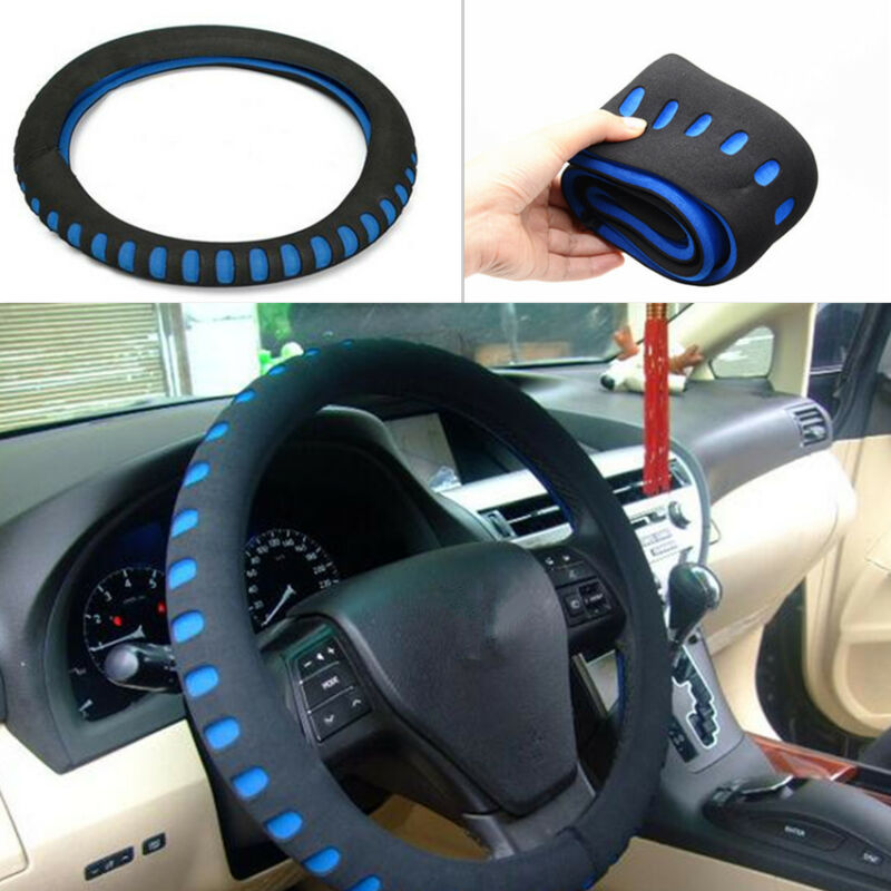 Universal Car Steering Wheel Cover Cap Non-slip Black-blue EVA Sport Soft Cover