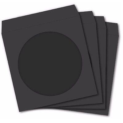 100 Premium Black Paper Sleeve Window Flap Cd Dvd 100p Free Fast Shipping