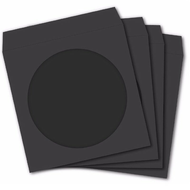100 Premium Black Paper Sleeve Window Flap CD DVD 100P [FREE FAST SHIPPING]