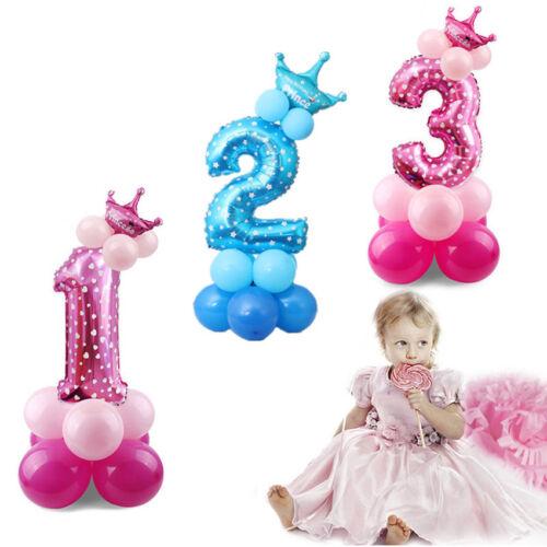 16pcs/set Crown Number Foil Balloons Digit Ballons Birthday Party Wedding Decor