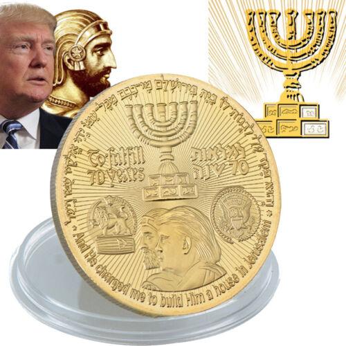 2018 King Cyrus Donald Trump Gold Plated Coin Jewish Temple Jerusalem Israel
