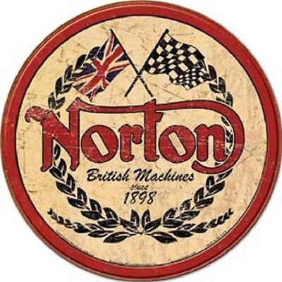 Norton British Motorcycles Logo Novelty ROUND TIN SIGN Vintage Garage Ad