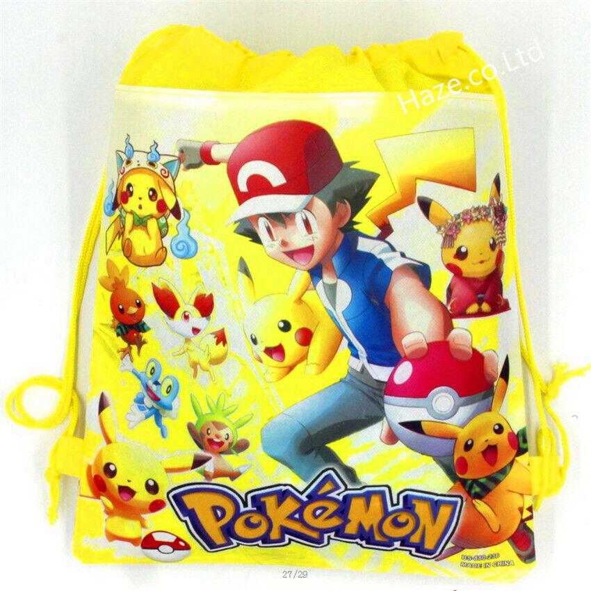 Anime Pokemon Go Pikachu Enfants Non-tissé Sac à cordon de Sac étudiant