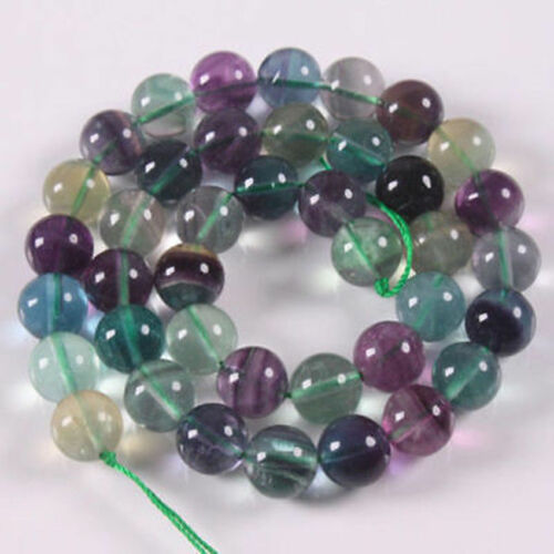 "6mm~10mm NATURAL FLUORITE GEMSTONE ROUND BEADS 15"" STRAND"