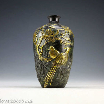 Collectible China Old Decorated Handwork Bronze Carving Magpie Noble Gilded Vase