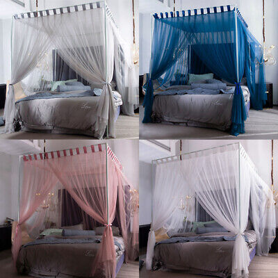 Romantic Four Corners Post Curtain Bed Canopy Net Frame Canopies -