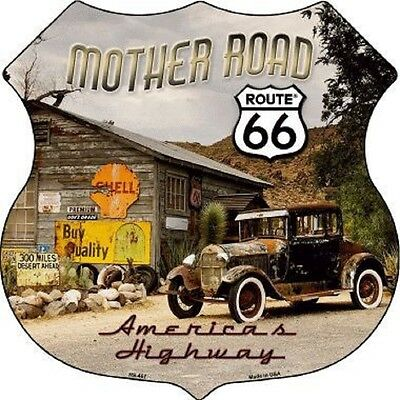 ROUTE 66 MOTHER ROAD ALUMINUM METAL NOVELTY HIGHWAY SHIELD SIGN