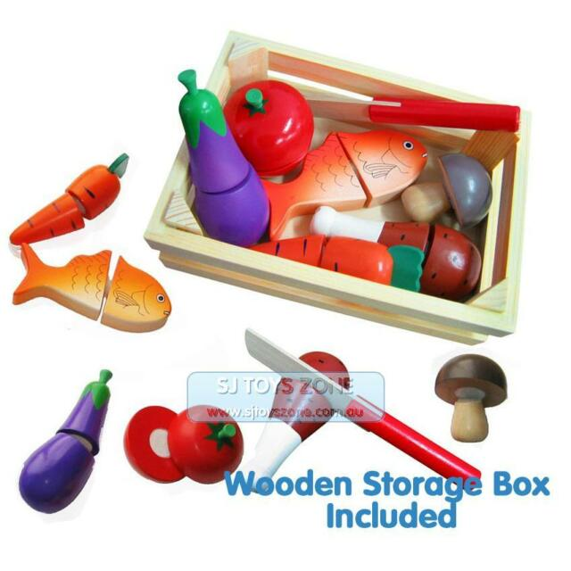 Fun Factory Pretend Play Non-Toxic Wooden Cutting Food Crate With Knife Free Shi