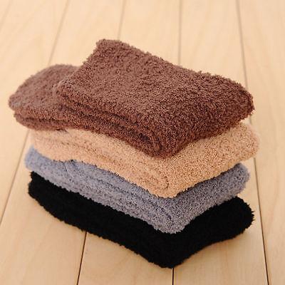 New 12 Pairs Men Soft Cozy Fuzzy Winter Warm Solid Slipper S