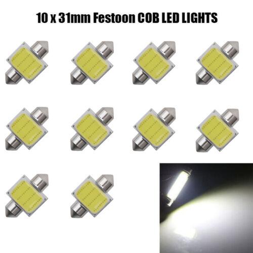 10pcs Festoon COB DC 12V Car LED Bulb Interior Dome Light 31mm White lamp 220LM Car & Truck Parts