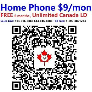 FREE 6 months Home Phone services. $9/month after. Free install, Free modem, Free shipping, Call 1-800-880-1234 to order