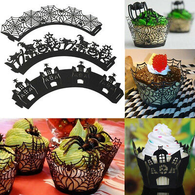 12pcs DIY Black Muffin Spider Halloween Cupcake Cases Wrappers Wraps Party - Halloween Muffins Decorations
